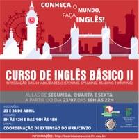 Período de inscrições para continuação de curso gratuito em  Inglês Básico começa na próxima segunda-feira
